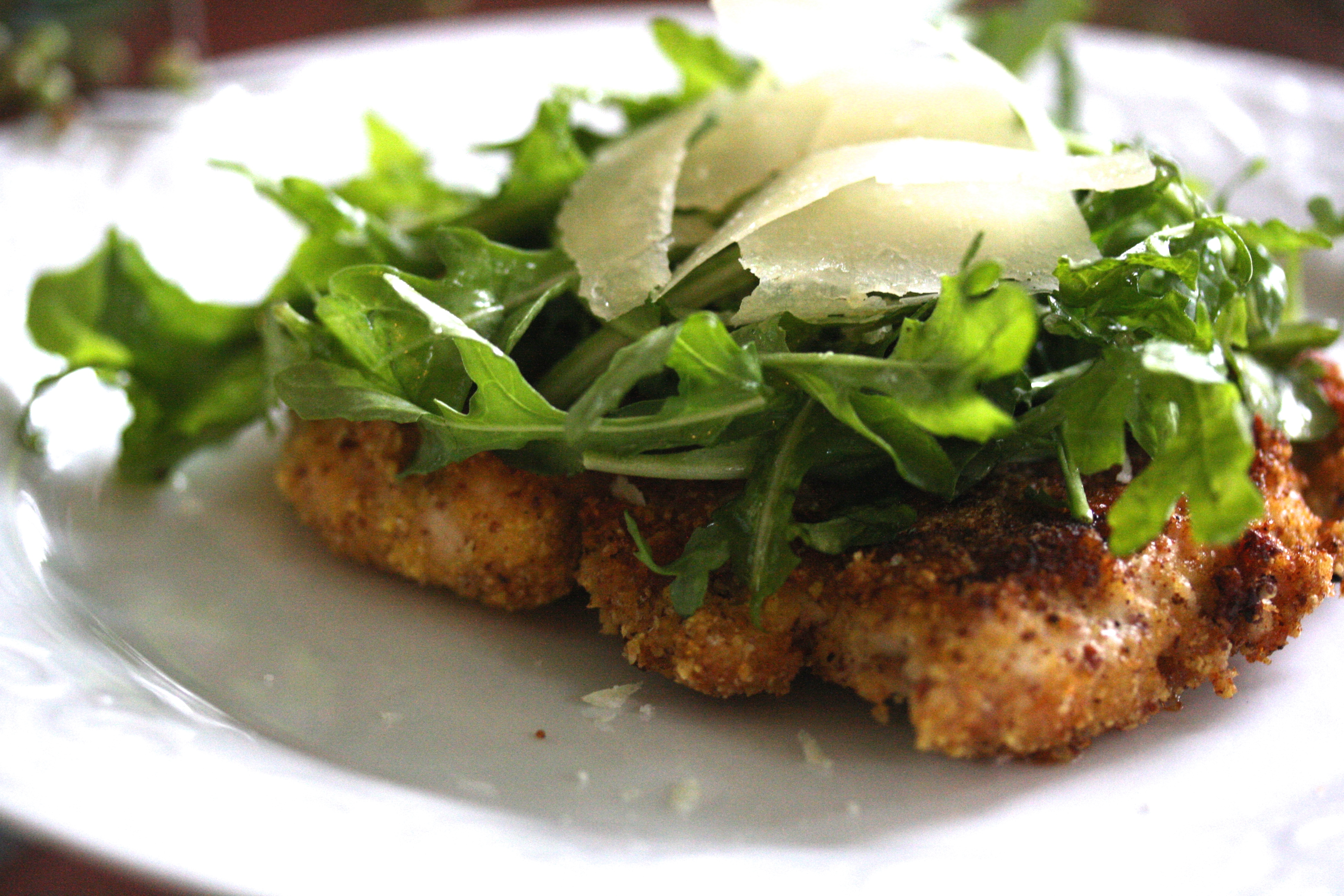 Parmesan Chicken with Arugula Salad a.k.a Pounded Chicken